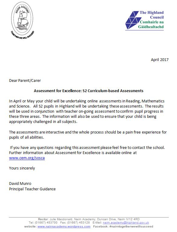 Assessment for Excellence: S2 Curriculum-based Assessments – Nairn Academy