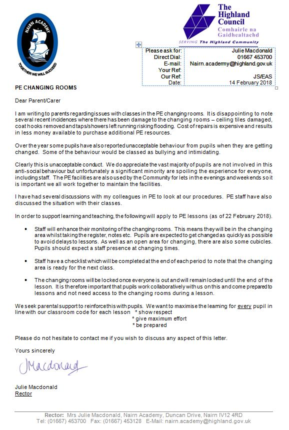 PE changing rooms letter