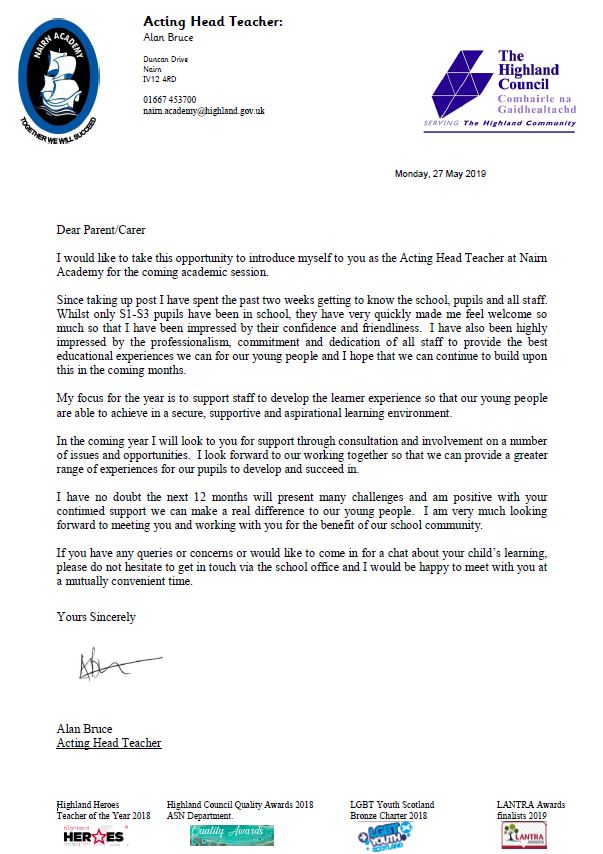 Letter of introduction from Mr Alan Bruce Acting Head